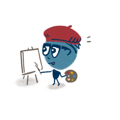 Character with easel and paint palette