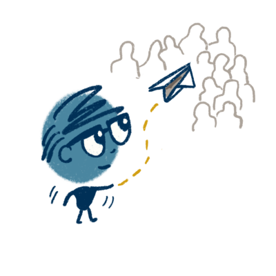 Character throwing paper airplane