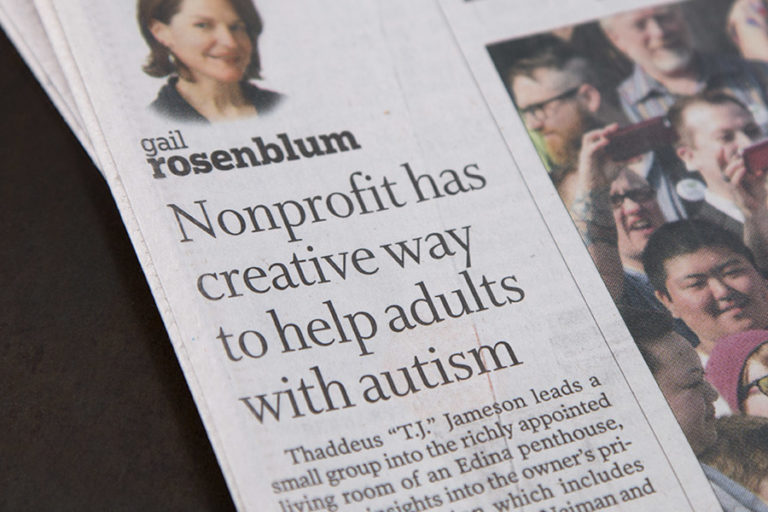 Newspaper with headline: Nonprofit has creative way to help adults with autism