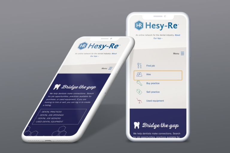 Hesy-Re website displayed on phone