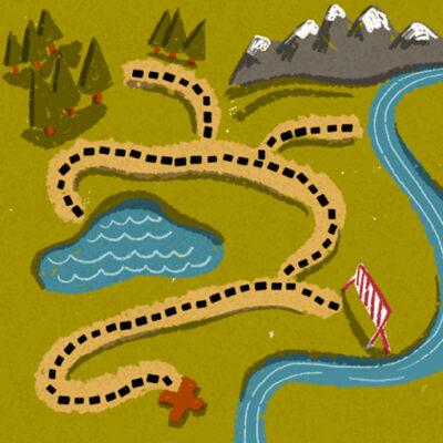 hiking map illustration